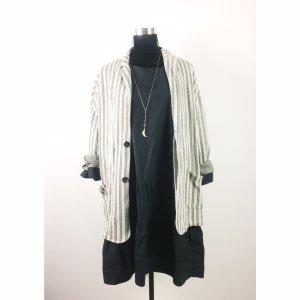 Zara boyfriend oversize Jersey Blazer Jacke XL 40 42 44 gestreift beige grau Long Blazer Leinen
