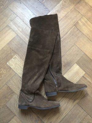 Zara braune Overknee stiefel