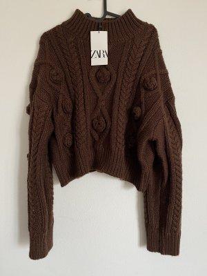 Zara Warkoczowy sweter ciemnobrązowy-brązowy