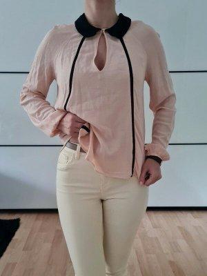 Zara Bubikragen Bluse XS S M 34 36 rosa oversized Hemd Shirt Top Oberteil Tunika Neu