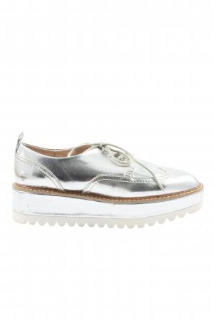 Zara Wingtip Shoes silver-colored wet-look