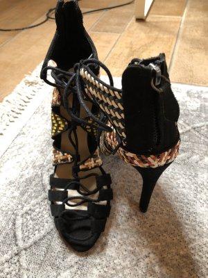 Zara bunte high heels Schnürschuhe Gr. 37 neu Karo Blogger