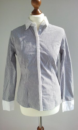 Zara Business-Bluse in L (38), Blau-Weiß gestreift, Kent-Kragen / Kontrast