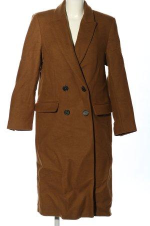 Zara Heavy Pea Coat brown casual look