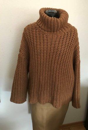 Zara camel Pullover Grobstrickpullover Wolle  oversize Gr.M neuwertig
