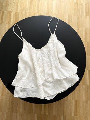 Zara Camisole mit Blumen Muster Weiß S