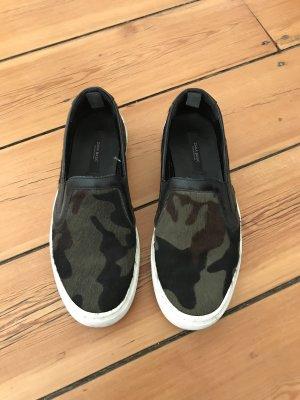 Zara Camo Camouflage Sneaker Slipper Mules Fell Fur