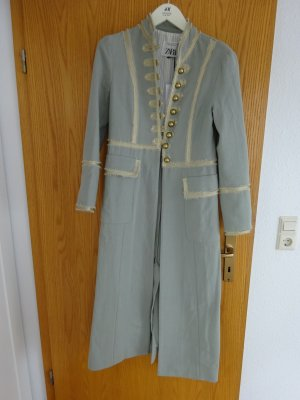 Zara Studio Floor-Lenght Coat pale green-gold-colored cotton