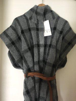 Zara Ponczo z dzianiny Wielokolorowy Tkanina z mieszanych włókien