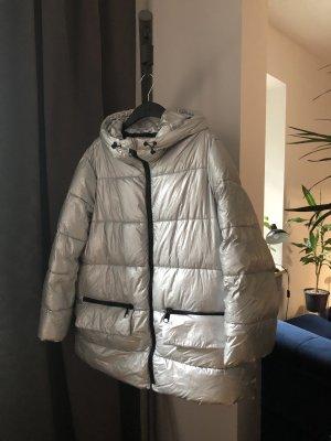 Zara Kurtka zimowa czarny-srebrny Tkanina z mieszanych włókien