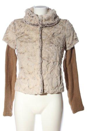 Zara Veste en fausse fourrure blanc cassé-brun style décontracté