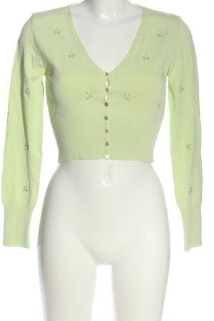 Zara Cardigan grün Blumenmuster Casual-Look