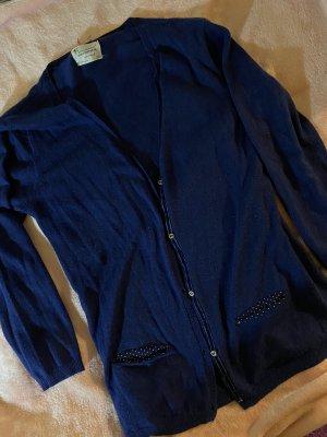 zara cardigan blau dunkelblau strickjacke mit Pünktchen details