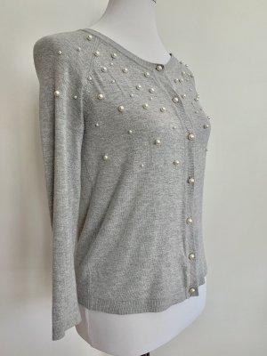 Zara Cardigan S Pullover Pulli Grau Perlen Weiß