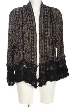 Zara Cardigan schwarz-wollweiß grafisches Muster Casual-Look