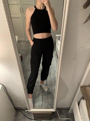 Zara Cargo Hose schwarz Jogger Pants Paperbag high-waist