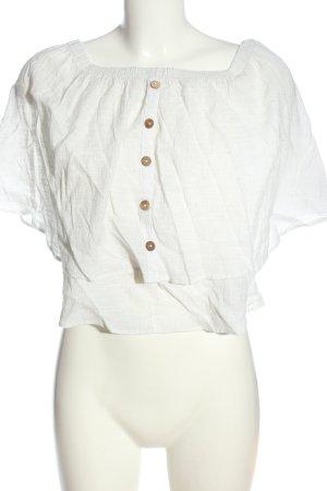 Zara Carmen-Bluse weiß meliert Elegant