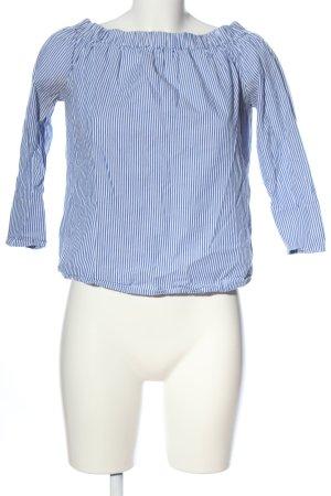 Zara Carmen-Bluse weiß-blau Allover-Druck Casual-Look