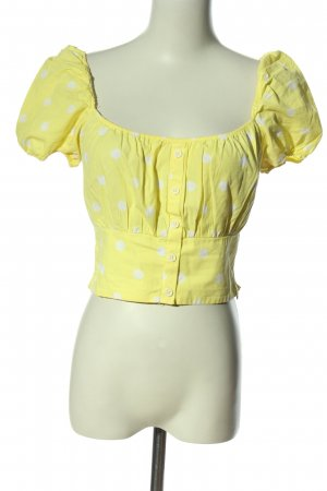 Zara Carmen-Bluse blassgelb-weiß Allover-Druck Casual-Look