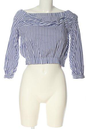 Zara Blusa tipo Carmen azul-blanco estampado a rayas look casual