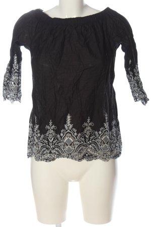 Zara Carmen-Bluse schwarz-weiß Mustermix Casual-Look