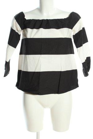 Zara Carmen-Bluse schwarz-weiß Allover-Druck Casual-Look
