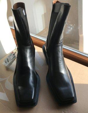 Zara Botki w stylu western czarny Skóra