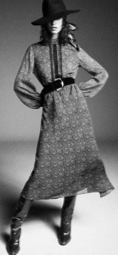 ZARA Chiffon Kleid Maxi gr xs grau mit Gürtel neu mit Etikett