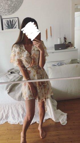 Zara Kopertowa sukienka w kolorze białej wełny-kremowy