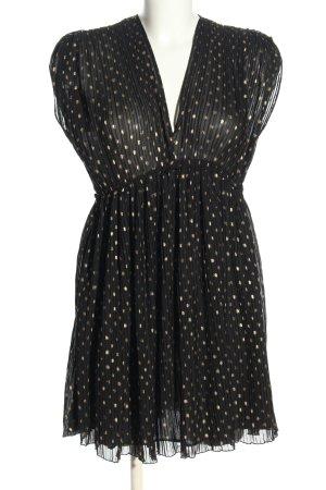 Zara Chiffonkleid schwarz-goldfarben Punktemuster Elegant