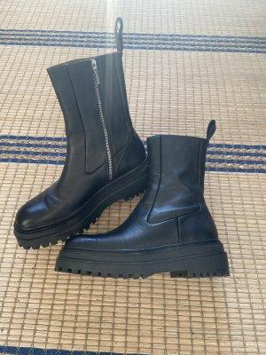 Zara Chunky Echtleder Stiefel Plateau Boots