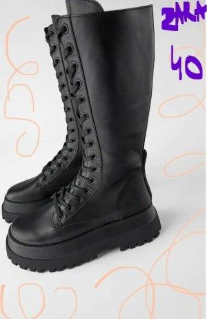 Zara chunky track sole boots combat platform lace up 40 eu NEU 100% echt LEDER