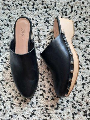 Zara Mule à talon noir-doré tissu mixte