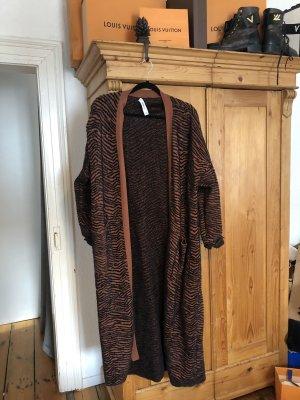 Zara Basic Płaszcz zimowy brązowy-ciemnobrązowy