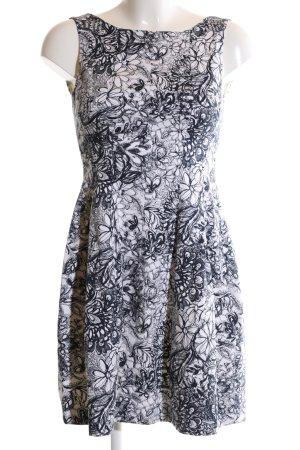 Zara Cocktailkleid weiß-schwarz abstraktes Muster Casual-Look
