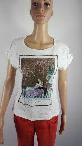 Zara Collection Damen kurzarm Shirt T-Shirt mit Print weiß Größe M