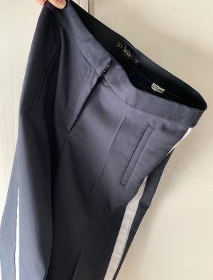 Zara Woman Pantalón de campana azul oscuro-blanco