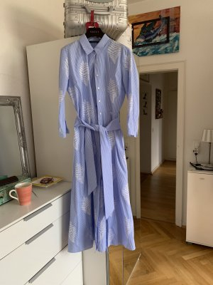 Zara Woman Hemdblousejurk wit-korenblauw Katoen