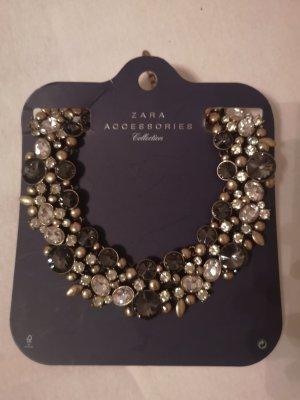 Zara collier kette neu grau silber gold schwarz