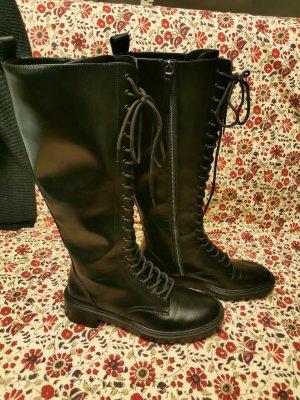 Zara Combat Stiefel kniehoch schwarz Gr. 40