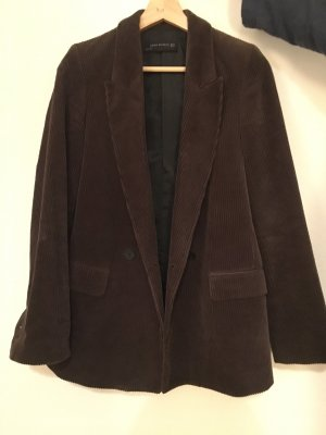 Zara Blazer stile Boyfriend marrone scuro