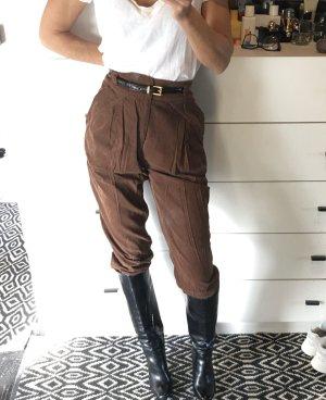Zara Cordhose Kordhose Feinkort braun High waist Karotte Bundfalten cropped