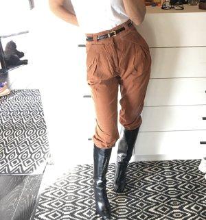 Zara Cordhose Kordhose Feinkort orange Cognac braun High waist Karotte Bundfalten cropped