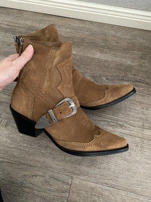 Zara Cowboyboots echt Leder Stiefeletten Western Style Gr. 38 Np 79€ neu