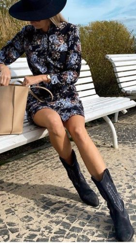 Zara Basic Western Boots black leather