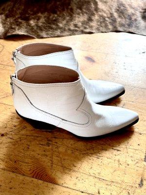 Zara Santiag blanc cuir