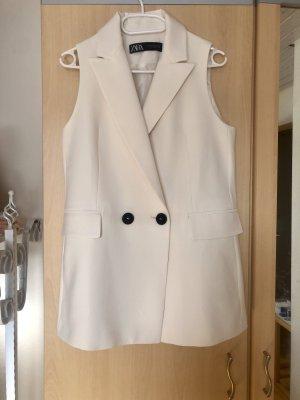 Zara Creme Blazer weste weiß Beige Blogger Trend NEU 34 XS 36 S