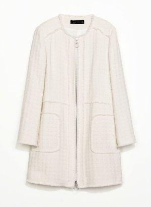 zara creme off-white wool woll Boucle Mantel Coat longblazer wedding Hochzeit Standesamt street Style