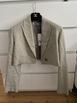 Zara Crop Blazer Linen Top Jacke Kurz Leinen