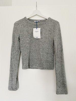 Zara Crop Pullover grau meliert Gr. M